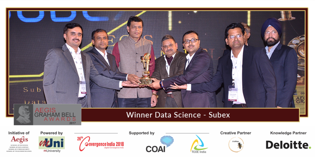 Subex announced winner 8th edition aegis graham bell awards data science category